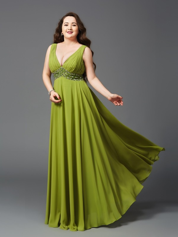 Chic A-Line Straps Cut Chiffon Long Plus Size Dresses With Rhinestone