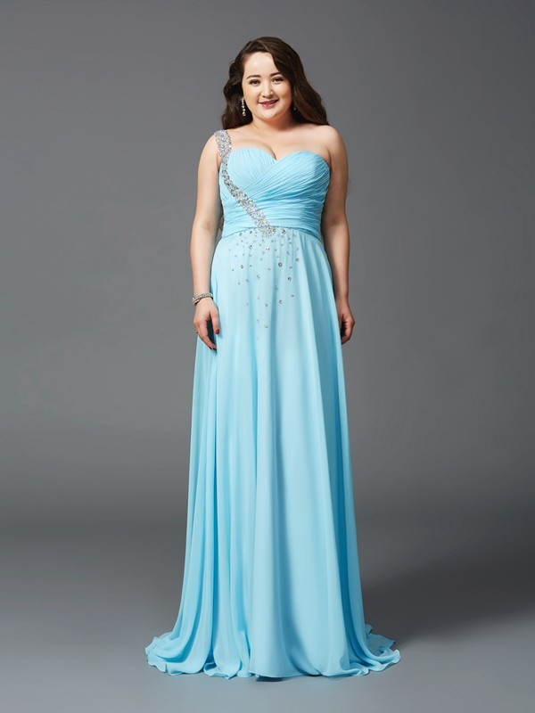 Sweet A-Line One-Shoulder Cut Chiffon Long Plus Size Dresses With Rhinestone