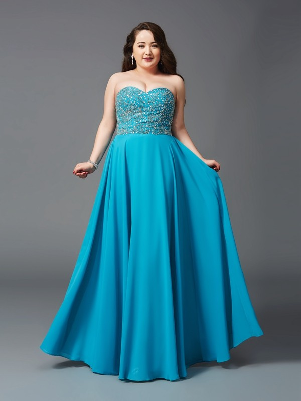 Glamorous A-Line Sweetheart Cut Chiffon Long Plus Size Dresses With Beading
