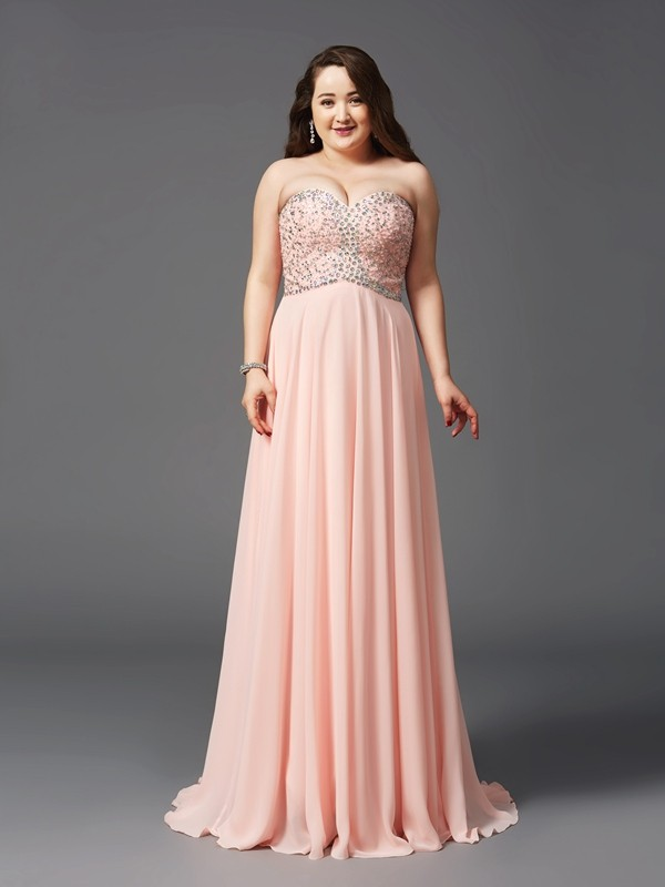 Popular A-Line Sweetheart Cut Chiffon Long Plus Size Dresses With Beading
