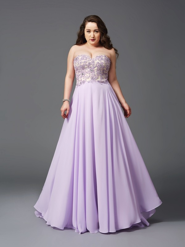Trendy A-Line Sweetheart Cut Chiffon Long Plus Size Dresses With Lace