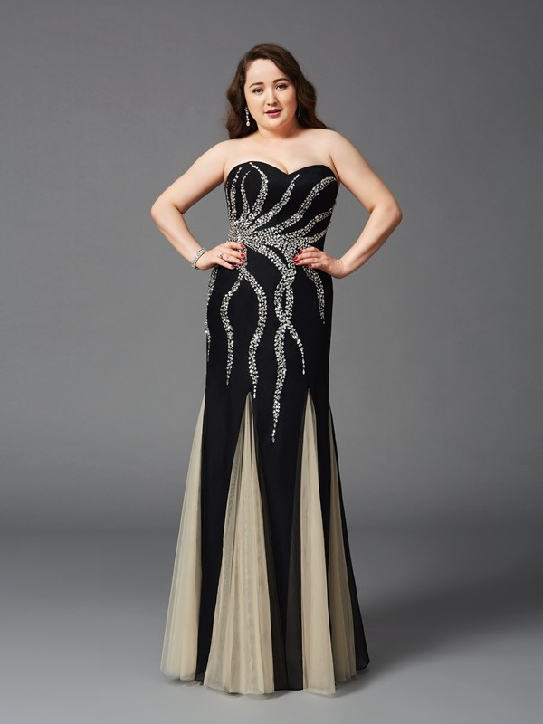 Pretty Sheath Sweetheart Cut Chiffon Long Plus Size Dresses With Beading
