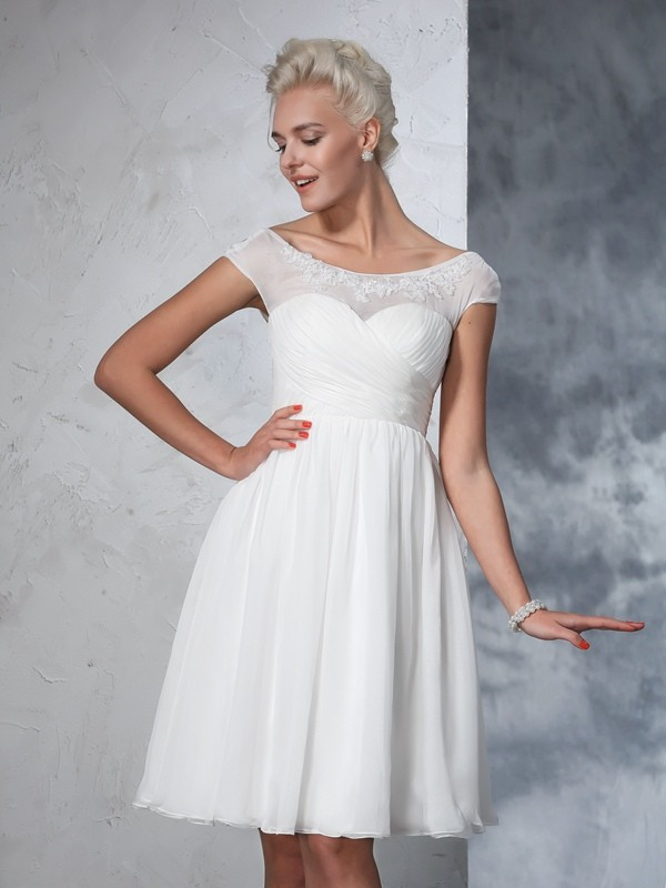 Nice A-Line Sheer Neck Cut Chiffon Short Wedding Dresses With Ruched