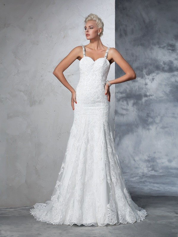 Exquisite Mermaid Spaghetti Straps Cut Lace Long Wedding Dresses With Lace