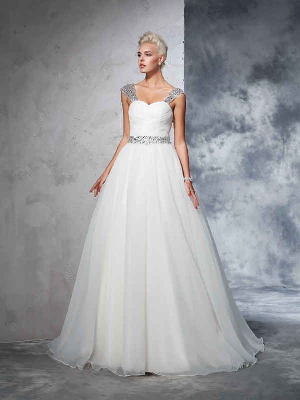 Amazing Ball Gown Straps Cut Net Long Wedding Dresses With Ruched