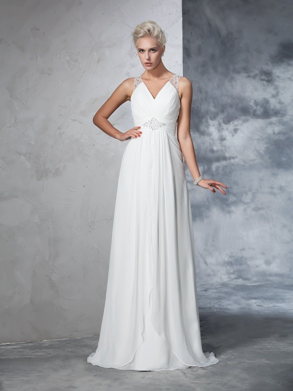 Shining A-Line V-neck Cut Chiffon Long Wedding Dresses With Ruched