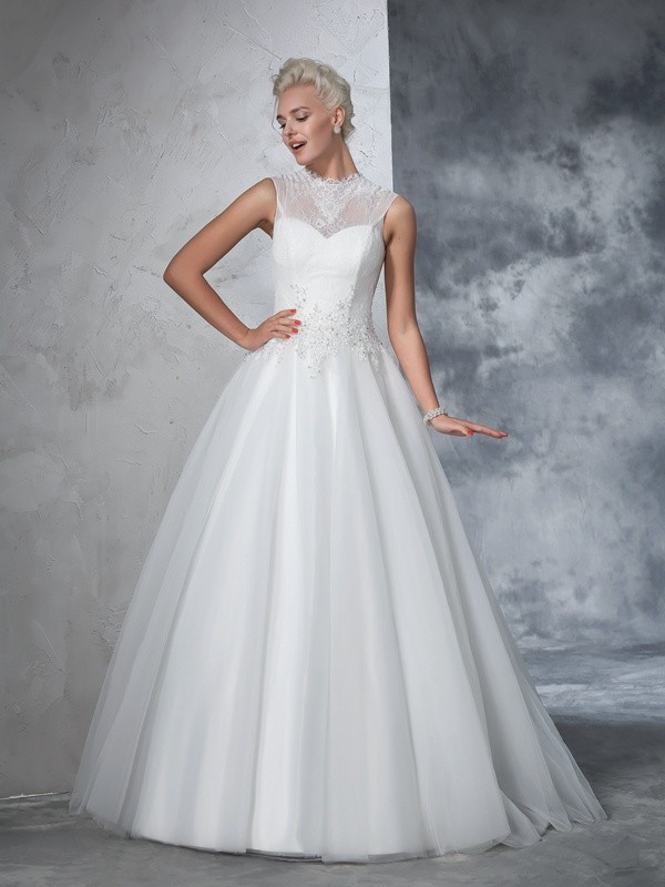 Special Ball Gown High Neck Cut Net Long Wedding Dresses With Applique