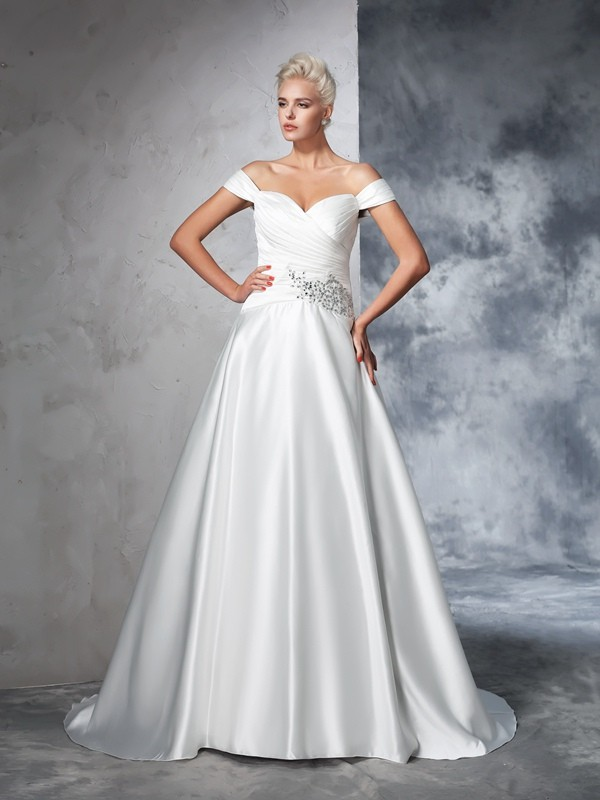 Brilliant Ball Gown Off-the-Shoulder Cut Taffeta Long Wedding Dresses With Ruched
