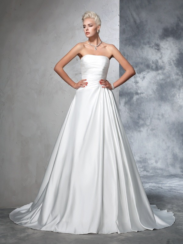 Soft Ball Gown Strapless Cut Satin Long Wedding Dresses With Ruched