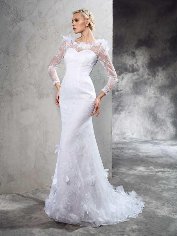 Smart Sheath Sheer Neck Cut Satin Long Wedding Dresses With Hand-Made Flower