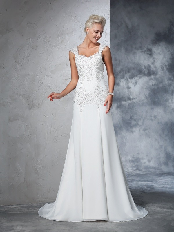 Sweet A-Line Straps Cut Chiffon Long Wedding Dresses With Beading