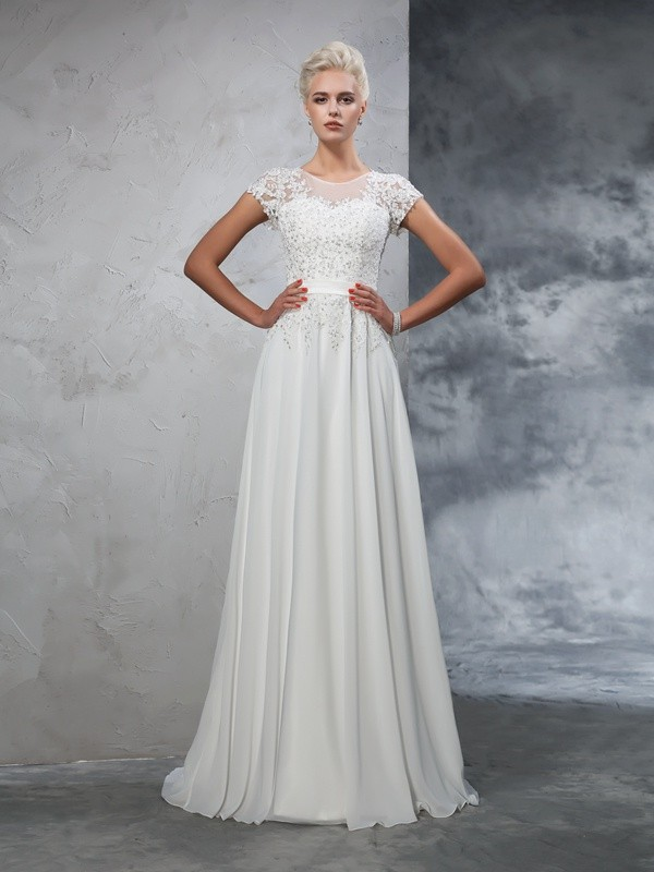 Stylish A-Line Sheer Neck Cut Chiffon Long Wedding Dresses With Applique