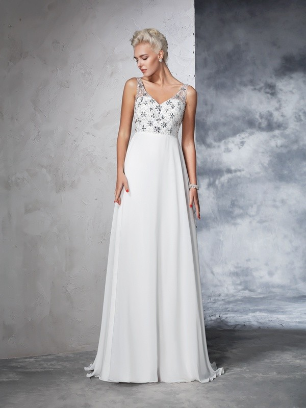 Glamorous A-Line V-neck Cut Chiffon Long Wedding Dresses With Beading