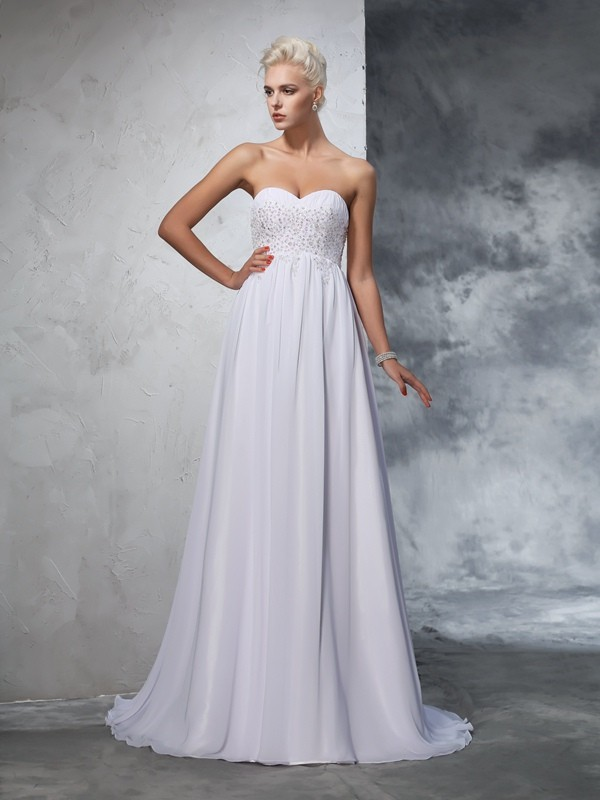 Trendy A-Line Sweetheart Cut Chiffon Long Wedding Dresses With Beading