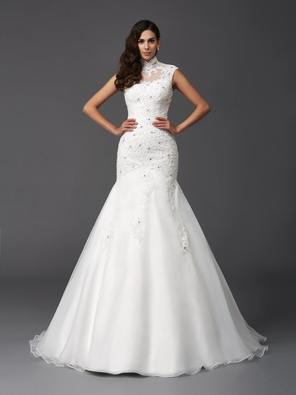 Gorgeous Mermaid High Neck Cut Organza Long Wedding Dresses With Beading