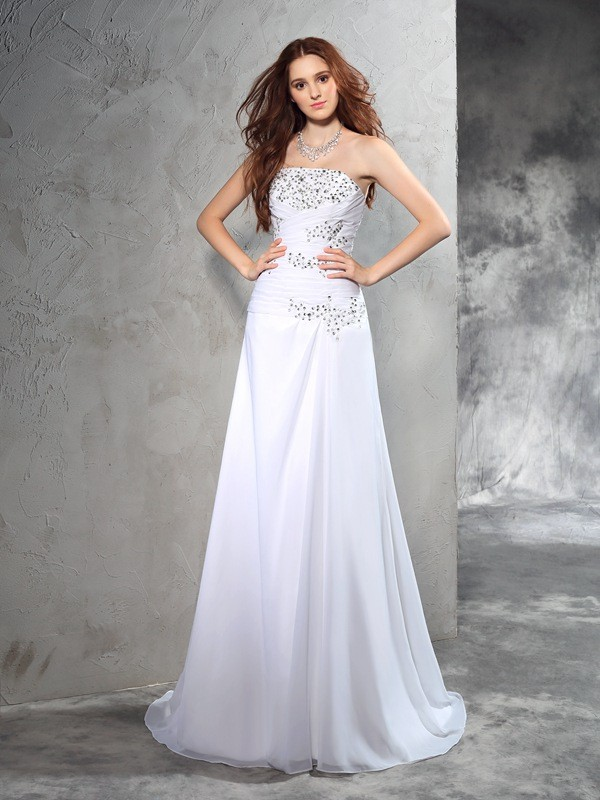 Awesome Sheath Strapless Cut Chiffon Long Wedding Dresses With Beading