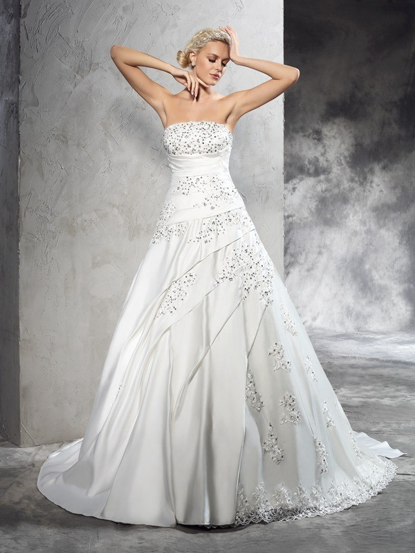 Amazing Ball Gown Strapless Cut Satin Long Wedding Dresses With Beading