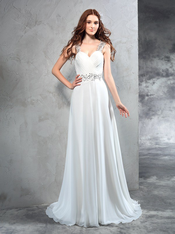 Graceful A-Line Sweetheart Cut Chiffon Long Wedding Dresses With Pleats