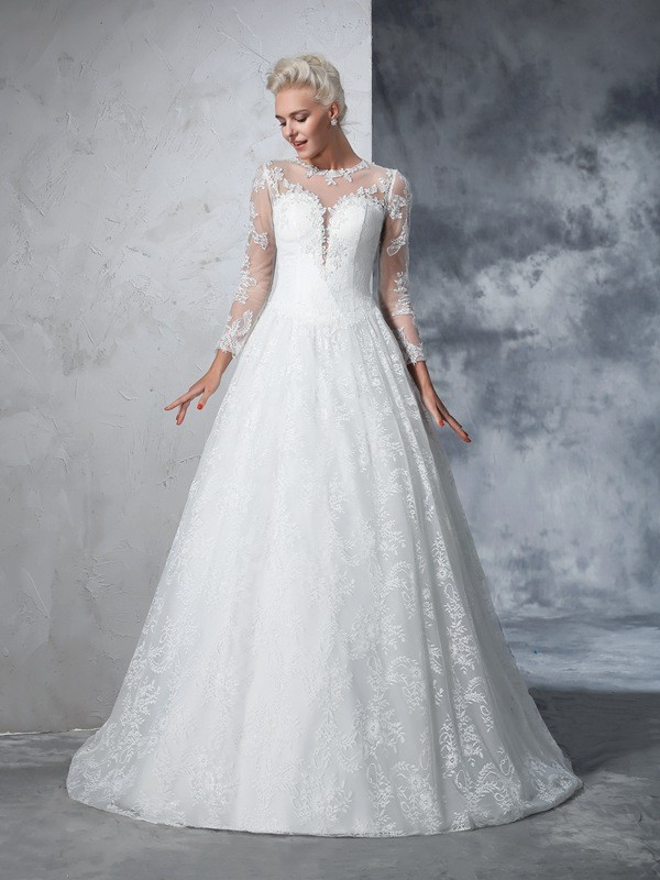 Stunning Ball Gown Jewel Cut Lace Long Wedding Dresses With Lace