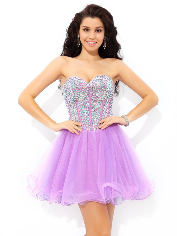 Lovely A-Line Sweetheart Cut Net Short Dresses With Paillette