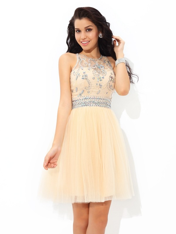 Shining A-Line Sheer Neck Cut Net Short Dresses With Beading