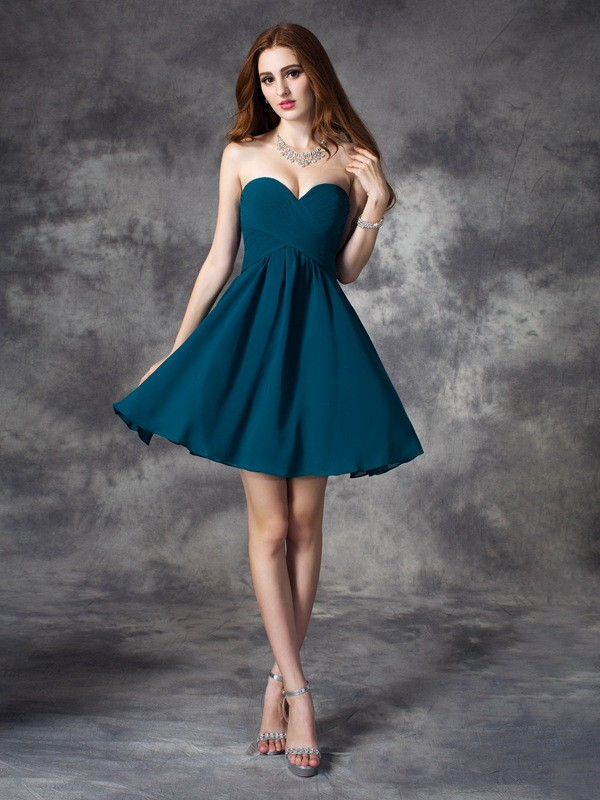 Special A-Line Sweetheart Cut Chiffon Short Dresses With Ruffles