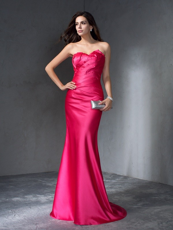 Dreamlike Mermaid Sweetheart Cut Satin Long Dresses With Ruffles