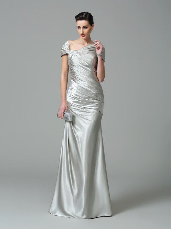 Brilliant Sheath Off-the-Shoulder Cut Silk like Satin Long Dresses With Pleats