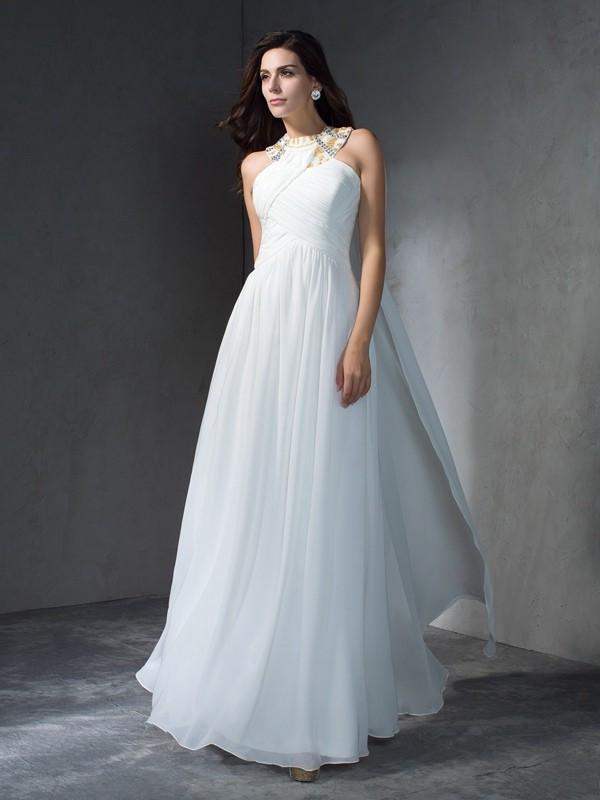 Soft A-Line Jewel Cut Chiffon Long Dresses With Beading