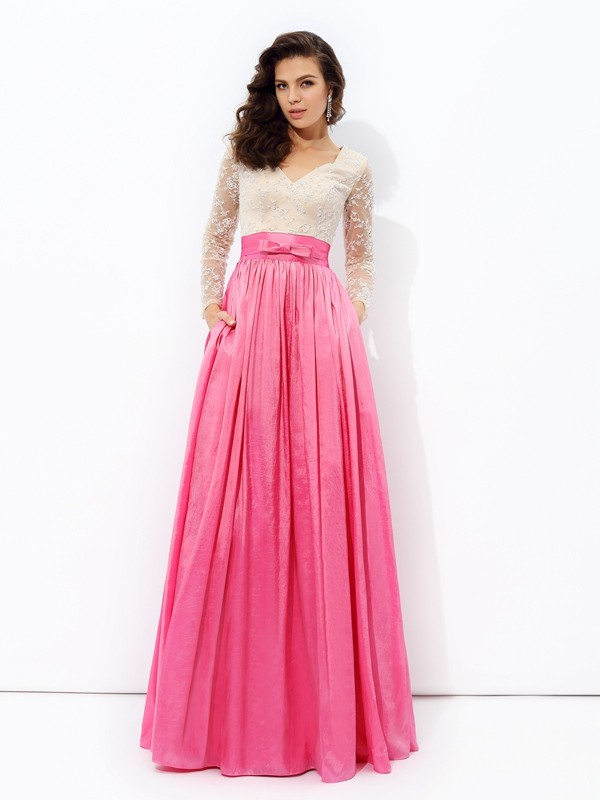 Smart A-Line V-neck Cut Taffeta Long Dresses With Lace