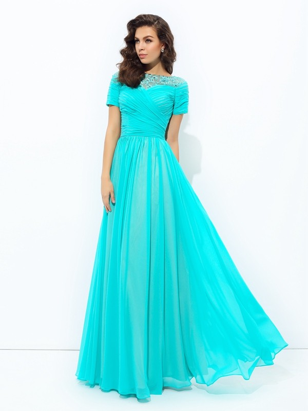 Chic A-Line Bateau Cut Chiffon Long Dresses With Lace
