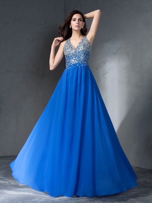 Pretty A-Line V-neck Cut Chiffon Long Plus Size Dresses With Beading
