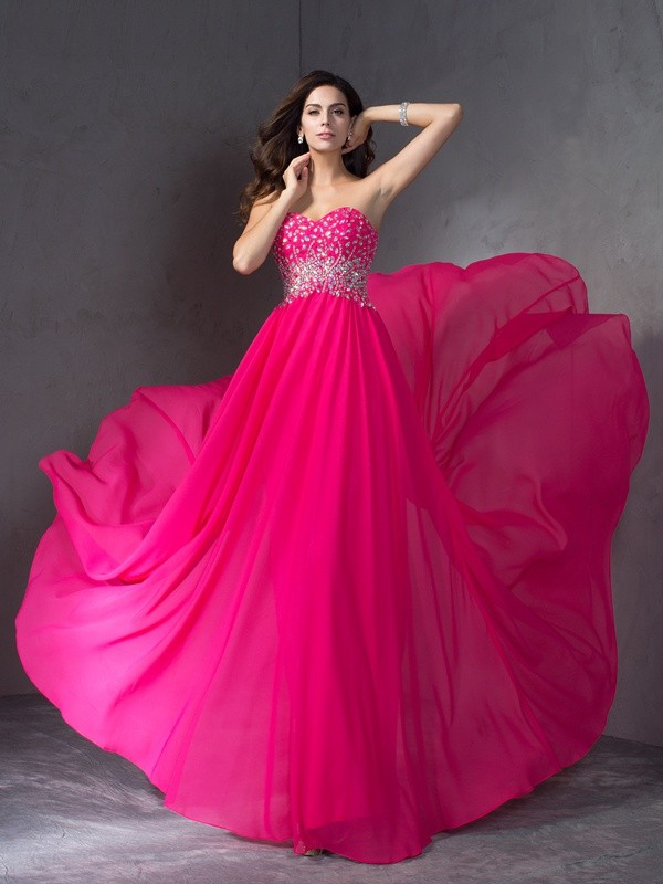 Gorgeous A-Line Sweetheart Cut Chiffon Long Plus Size Dresses With Beading
