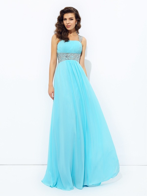 Charming A-Line Straps Cut Chiffon Long Plus Size Dresses With Sequin