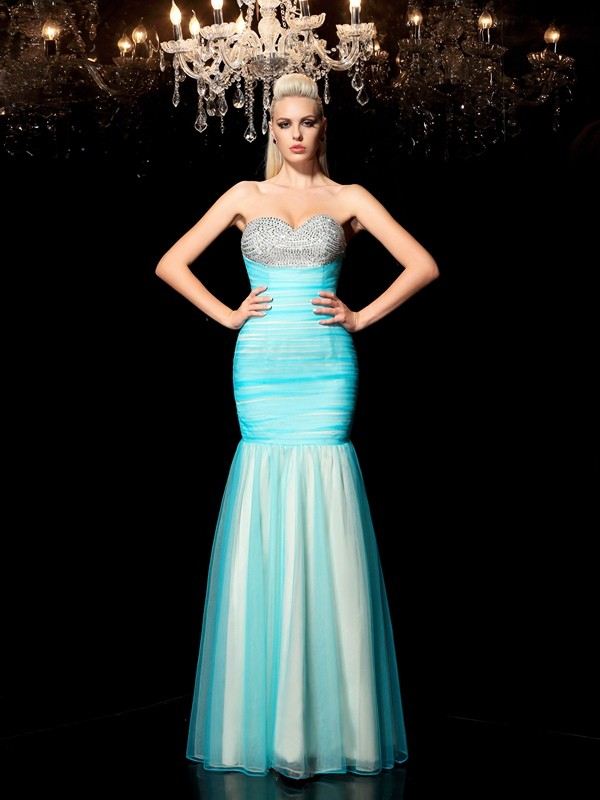 Elegant Sheath Sweetheart Cut Net Long Plus Size Dresses With Sequin