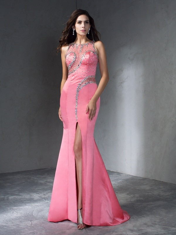 Exquisite Mermaid Scoop Cut Satin Long Plus Size Dresses With Beading