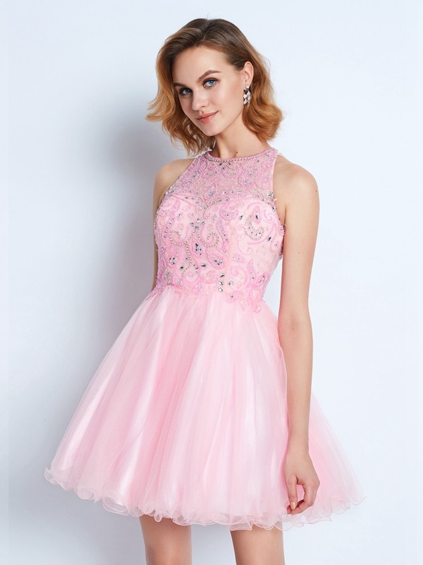 Popular A-Line Jewel Cut Net Short Dresses With Ruffles
