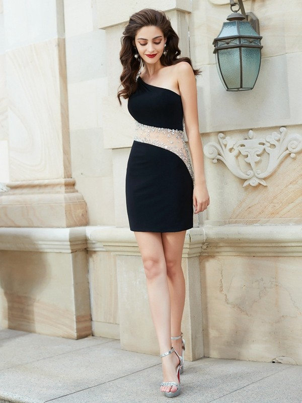 Gorgeous Sheath One-Shoulder Cut Net Short Dresses With Beading