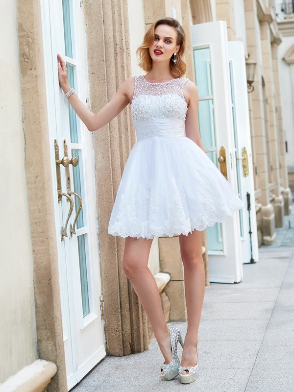 Soft A-Line Jewel Cut Lace Short Dresses With Pearls