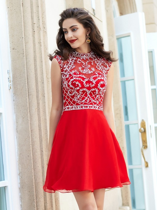 Bright A-Line High Neck Cut Chiffon Short Dresses With Beading