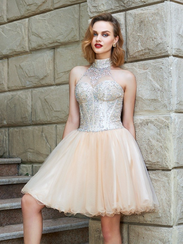 Dreamlike A-Line Halter Cut Net Short Dresses With Beading