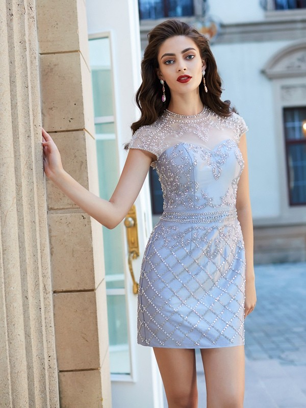 Modern Sheath Jewel Cut Satin Short Dresses With Beading