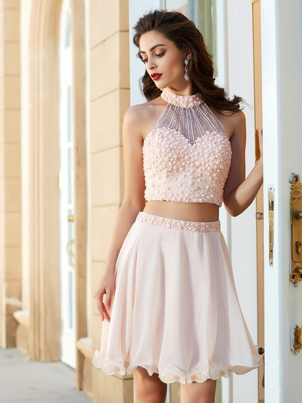 Soft A-Line Halter Cut Chiffon Short Two Piece Dresses With Beading
