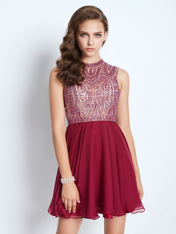 Stylish A-Line Jewel Cut Chiffon Short Dresses With Beading