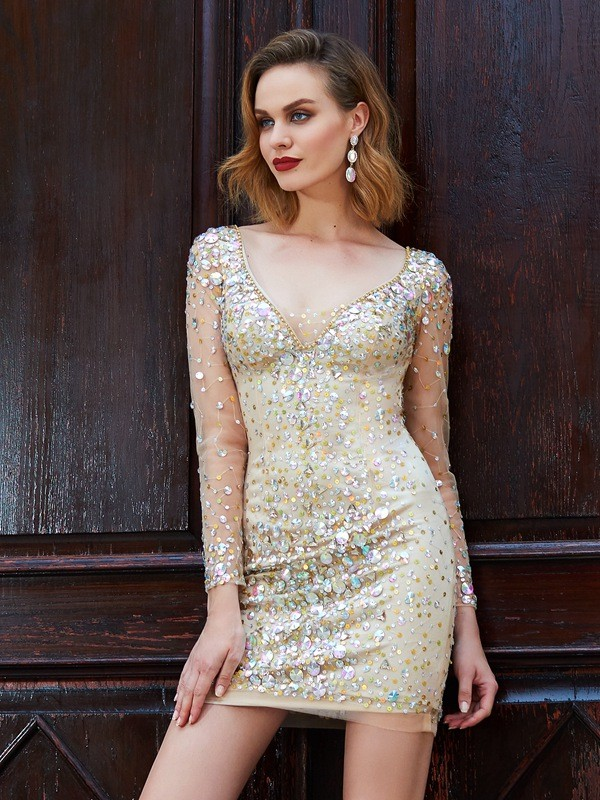 9d7df2901a7 Lovely Sheath Scoop Cut Net Short Dresses With Rhinestone