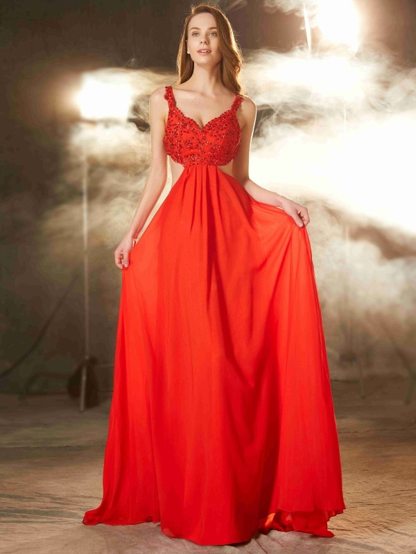 Soft A-Line Straps Cut Chiffon Long Dresses With Applique