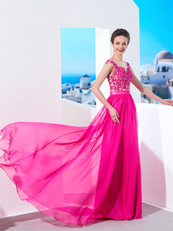 Romantic A-Line Sheer Neck Cut Chiffon Long Dresses With Applique