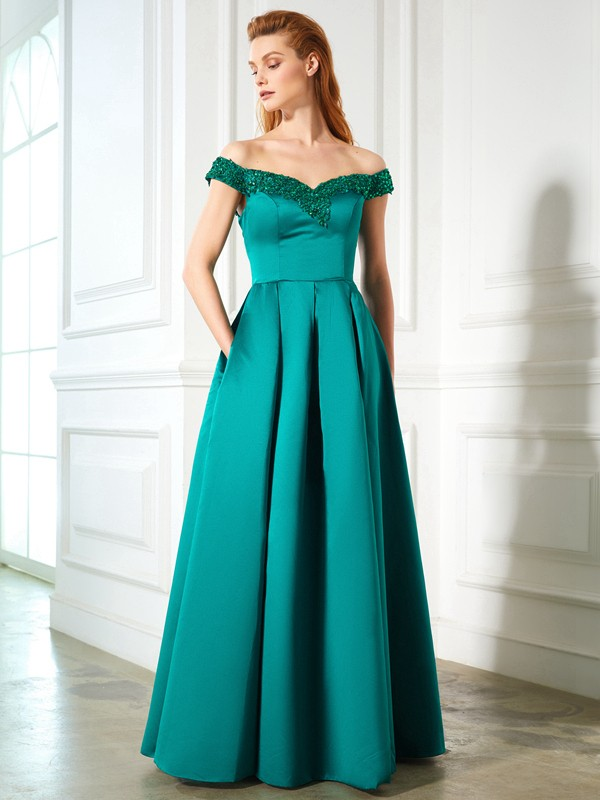 Glamorous A-Line Off-the-Shoulder Cut Satin Long Dresses With Sequin