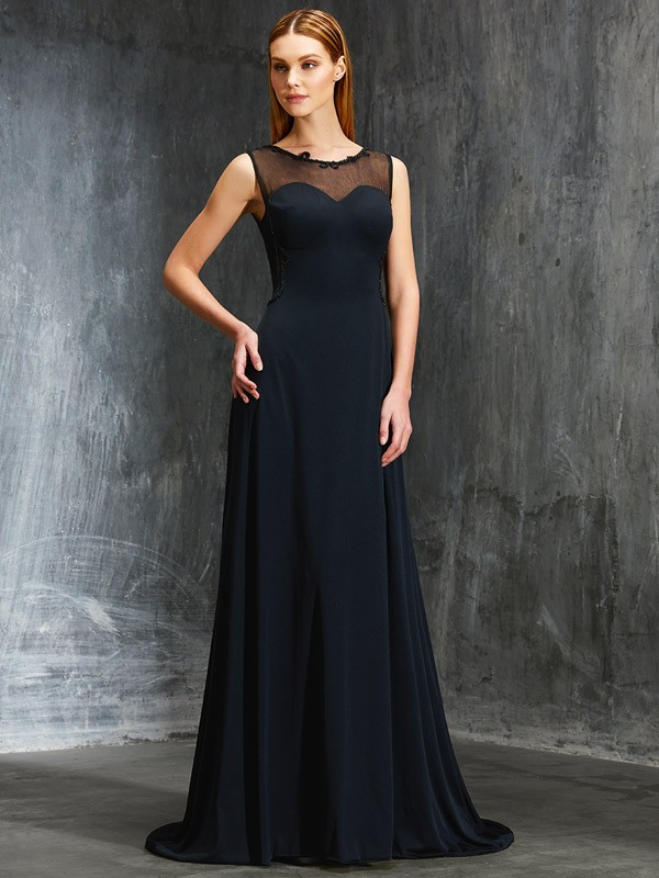 Trendy A-Line Scoop Cut Spandex Long Dresses With Beading
