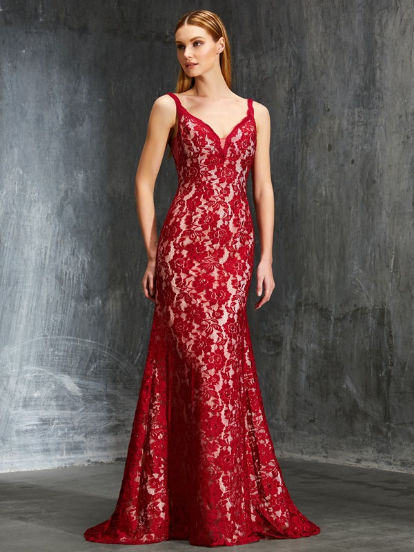Gorgeous Sheath Spaghetti Straps Cut Lace Long Dresses With Applique